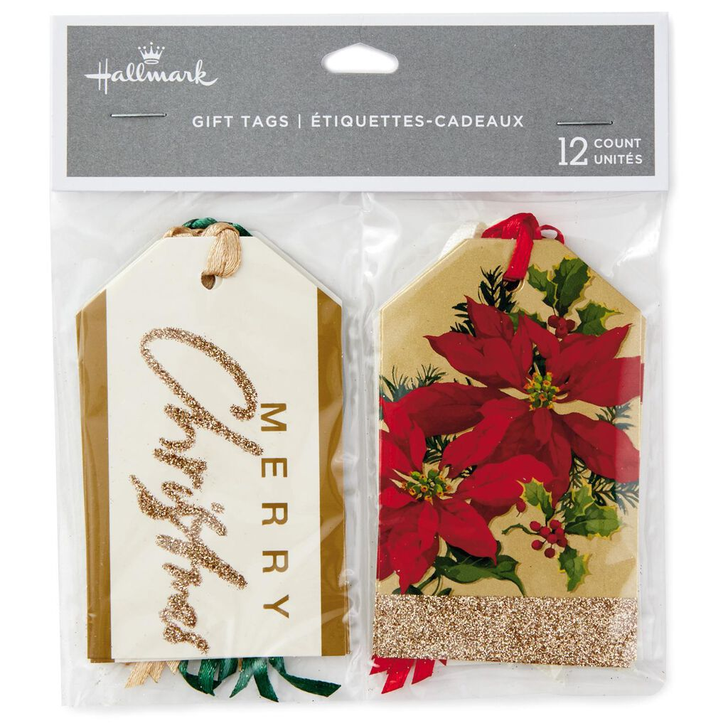 elegant luxe christmas gift tags with ribbons pack of 12 seals
