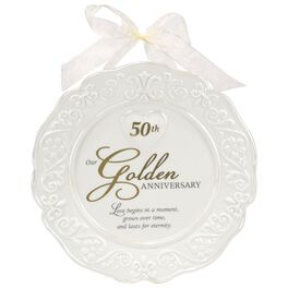 Malden 50th Anniversary Ceramic Plate with Wall Hanging Ribbon, , large