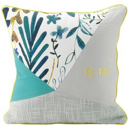 """Be You Patchwork Pillow, 14"""" Square, , large"""