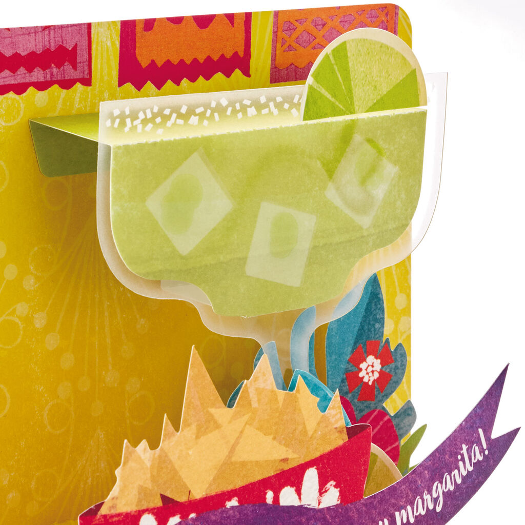 Margarita Glass And Chips Pop Up Birthday Card