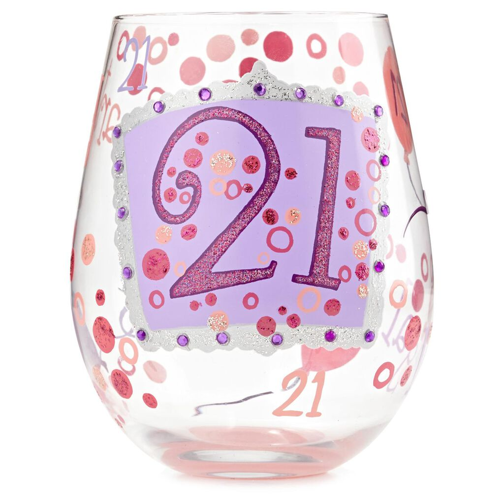 LolitaR 21st Birthday Hand Painted Stemless Wine Glass 20 Oz