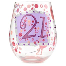 Lolita® 21st Birthday Hand-Painted Stemless Wine Glass, 20 oz., , large