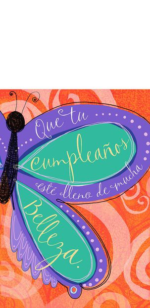 Butterfly Bouquet Spanish-Language Pop Up Birthday Card