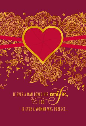 Lace and Gold Foil Valentine's Day Card for Wife