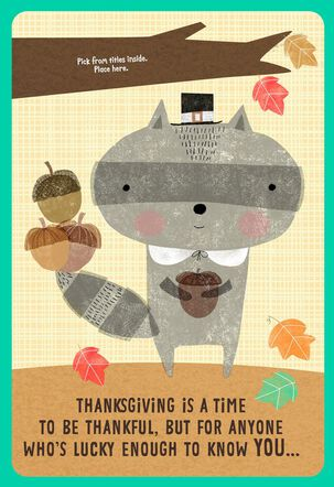 Raccoon Thanksgiving Card for Kids with Customizable Family Recipient Stickers