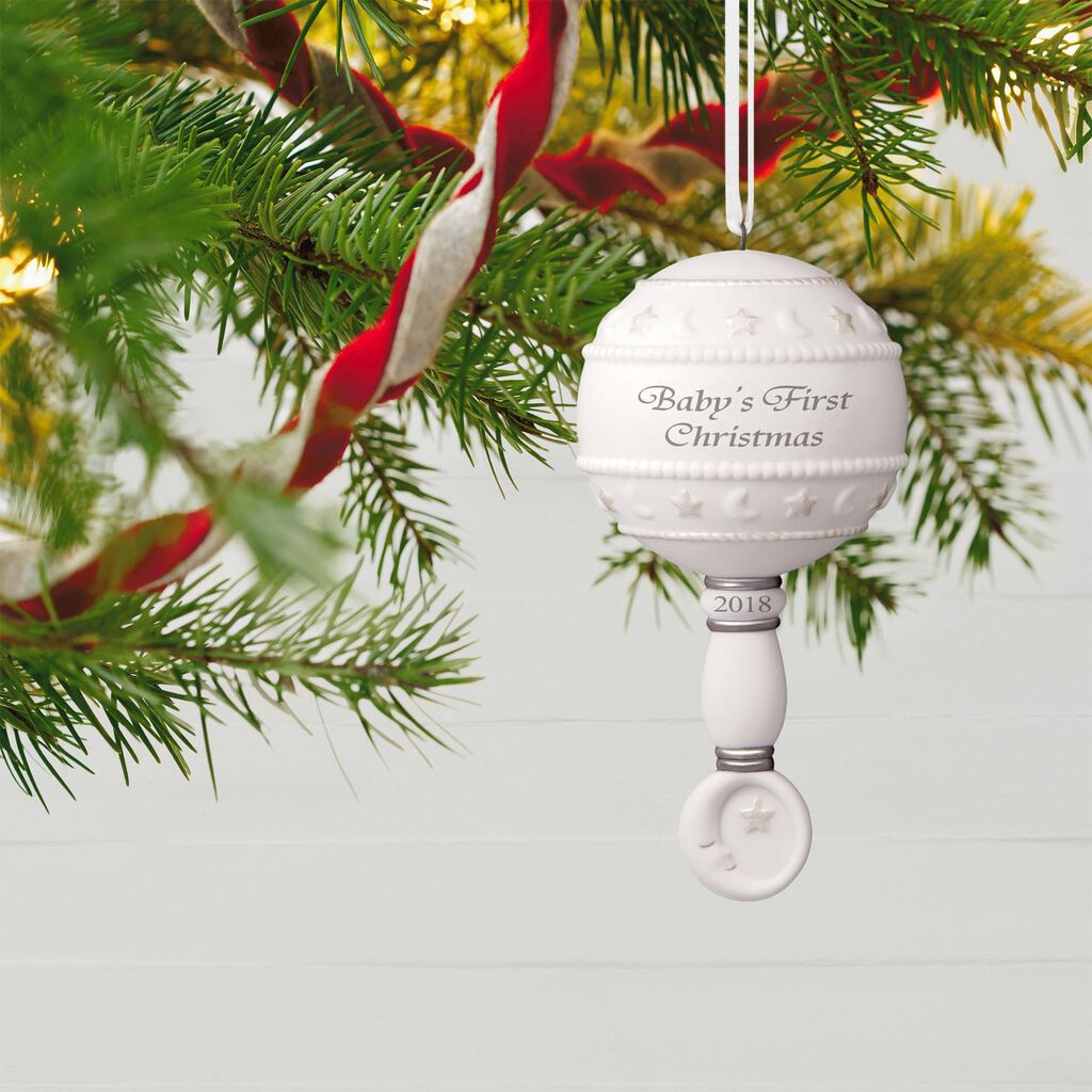 Babys First Christmas Rattle 2018 Porcelain Ornament Keepsake