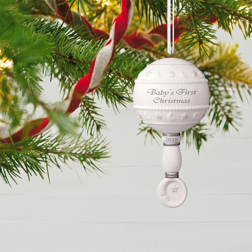 ... Baby's First Christmas Rattle 2018 Porcelain Ornament, - Baby's First Christmas Ornaments & Gifts Hallmark