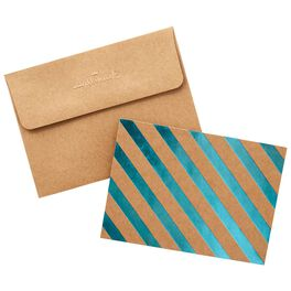Blue Foil Diagonal Stripes on Kraft Blank Note Cards, Box of 50, , large