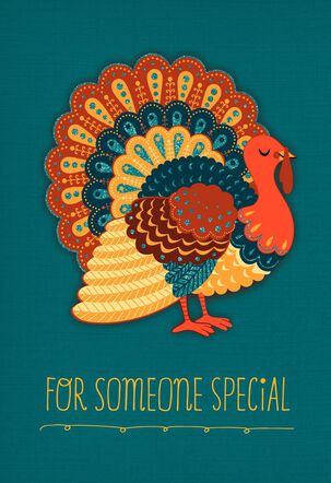 Turkey on Teal Background Thanksgiving Card