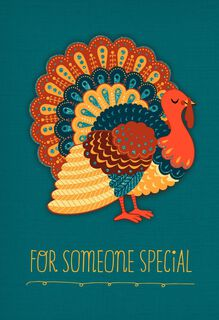 Turkey on Teal Background Thanksgiving Card,