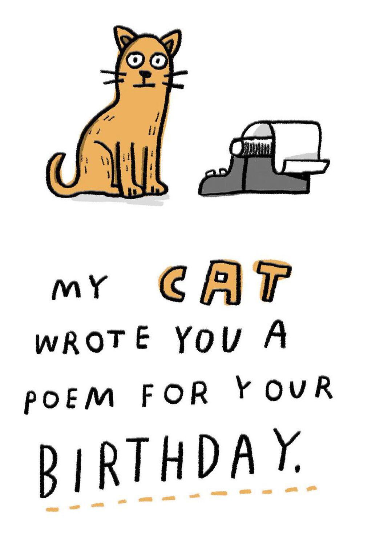 My Cat Wrote A Poem Birthday Card