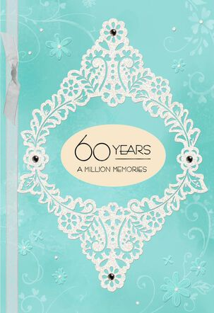 Blue and White Floral 60th Anniversary Card