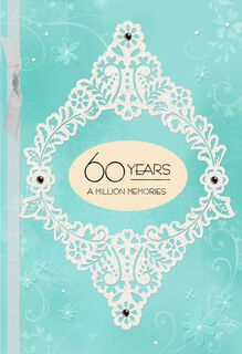 Blue and White Floral 60th Anniversary Card,