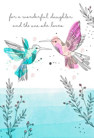 Hummingbirds Anniversary Card for Daughter and the One She Loves