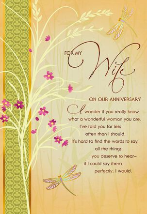 Dragonflies and Flowers Anniversary Card for Wife