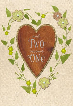 Two Hearts, One Love Story Wedding Card