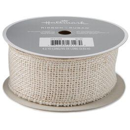 "Cream 1.5"" Burlap Wire-Edged Ribbon, 4.3 yards, , large"