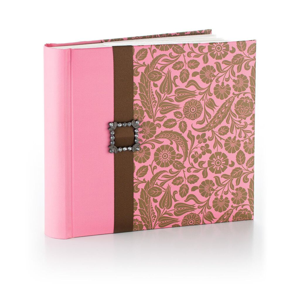 vintage pink and brown floral photo album
