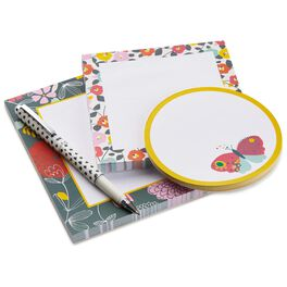 Folk Floral Memo Pads With Pen, Set of 3, , large