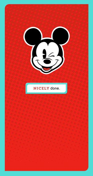 Mickey Mouse Nicely Done Money Holder Congratulations Card
