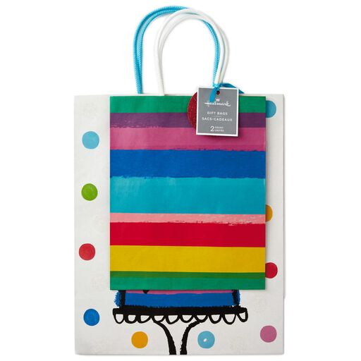 Gift bags hallmark rainbow stripes medium and happy birthday cake large gift bags pack of 2 negle Image collections