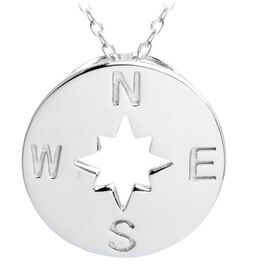 "Engraved Compass Necklace, 16"", , large"