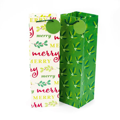 Holly And Merry Christmas 2 Pack Bottle Gift Bags 13