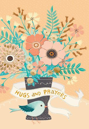 Hugs and Prayers Religious Encouragement Card