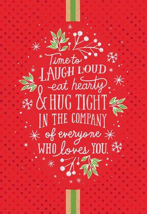 Laugh, Eat and Hug Christmas Card