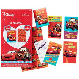 Cars Kids' Valentines With Stickers, 32 Pack, , large