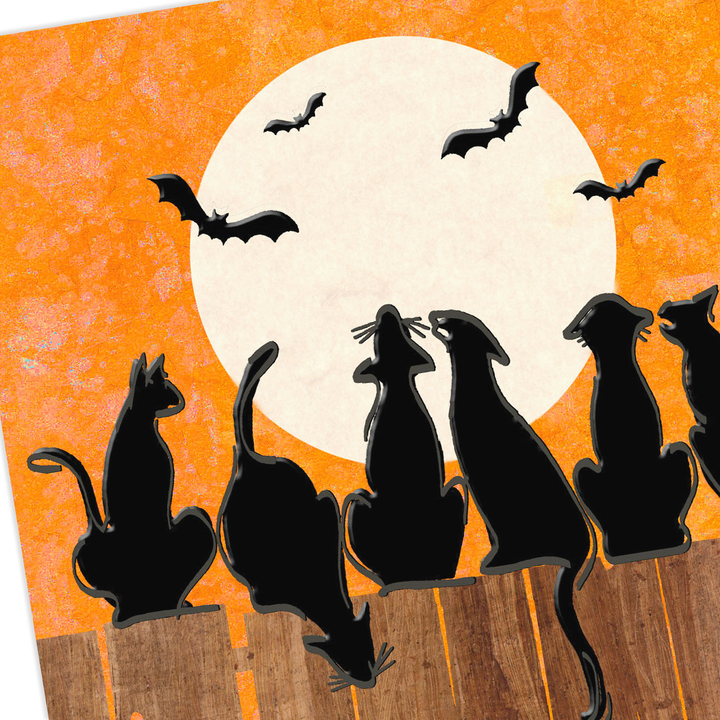 A Glaring of Cats Halloween Card