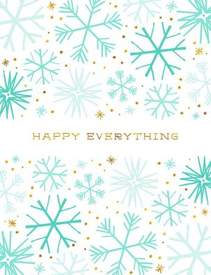 Happy Everything Snowflakes Blank Holiday Card