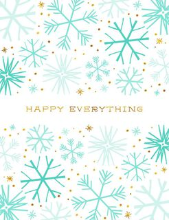 Happy Everything Snowflakes Blank Holiday Card,