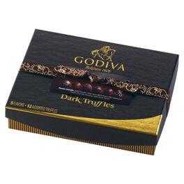 Godiva Dark Chocolate Truffles in Gift Box, 12 Pieces, , large