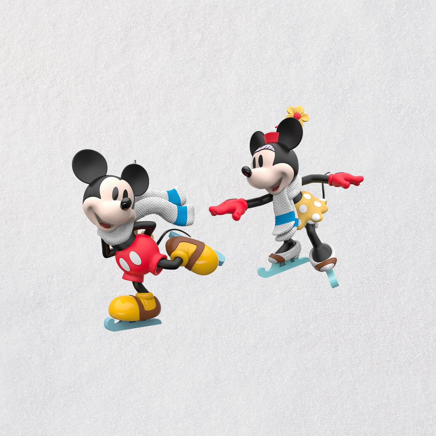 Disney Mickey and Minnie Mice on Ice Ornaments Set of 2 Keepsake