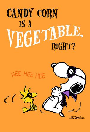Peanuts® Snoopy and Woodstock Candy Corn Halloween Card