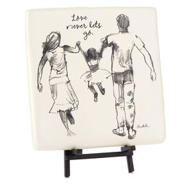 Love Never Lets Go Family Decorative Tile, , large