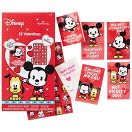 Mickey Mouse Kids' Valentines With Stickers, 32 Pack, , large