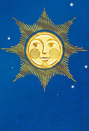 Gold Sun and Stars Blank Card