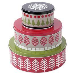 Set of 3 Round Holiday Tins, , large