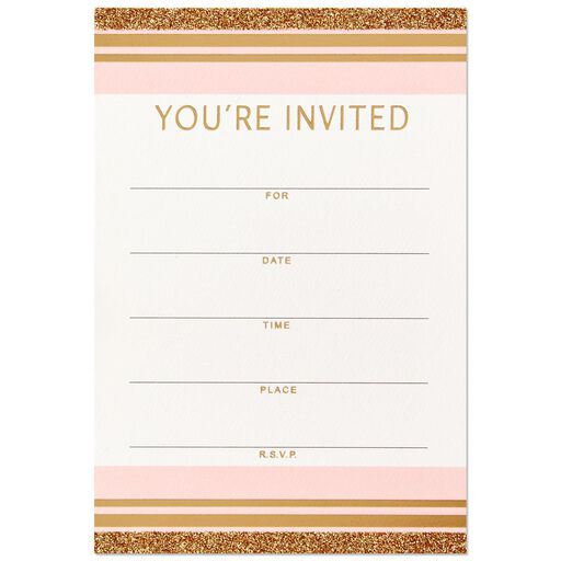 Pink And Gold Stripes Party Invitation Box Of 12