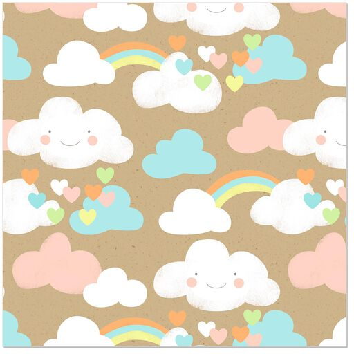 Rainbows And Clouds Wrapping Paper Roll 27 Sq Ft