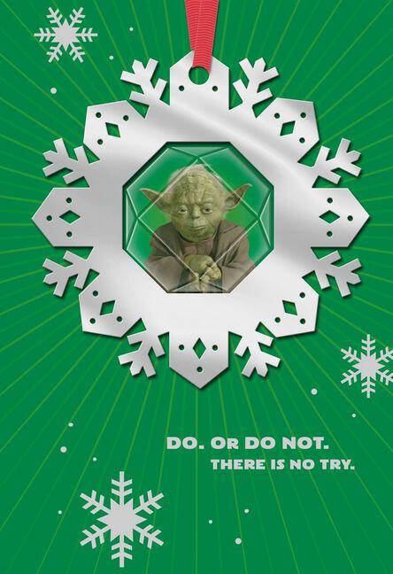 star wars yoda christmas card with ornament