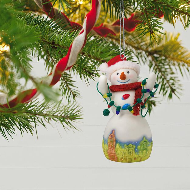 christmas in kansas city plaza lights snowman porcelain ornament - Porcelain Christmas Tree With Lights