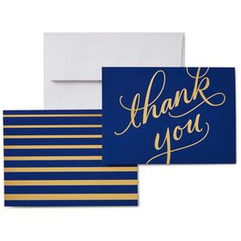 Classic Navy and Gold Thank You Notes, Box of 50, , large
