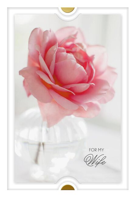 Pink Peony In Vase Birthday Card For Wife