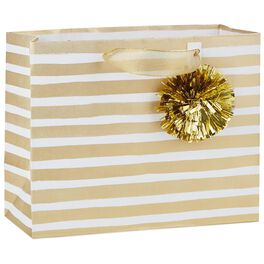 "Gold Stripe Medium Gift Bag With Pom Pom, 7.75"", , large"