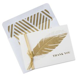 Golden Feather Thank You Notes, Pack of 8, , large