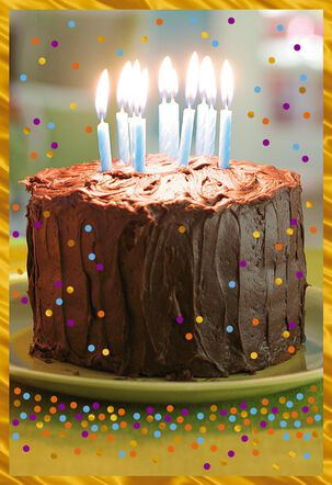 Chocolate Cake and Candles Birthday Card