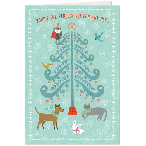 Tree With Cute Pets Thank You Christmas Card For Veterinarian